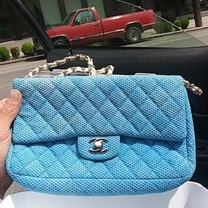 Blue quilted caviar early 1980$ vintage chanel